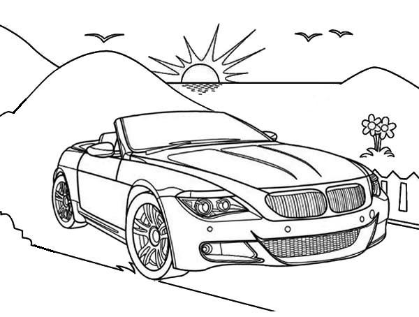 Convertible Coloring Page Cabriolet Drawing For Kids