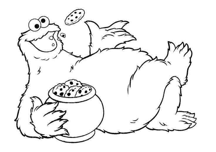 Cookie Monster Coloring Pages Eating Cookie