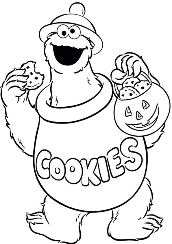 Cookie Monster Coloring Pages Halloween