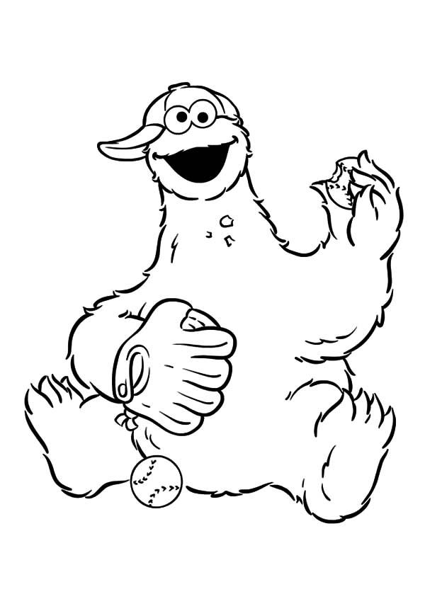 Cookie Monster Coloring Pages Playing Baseball