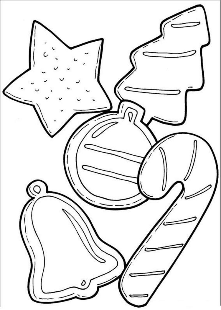 Cookies And Candy Cane For Christmas Coloring Page