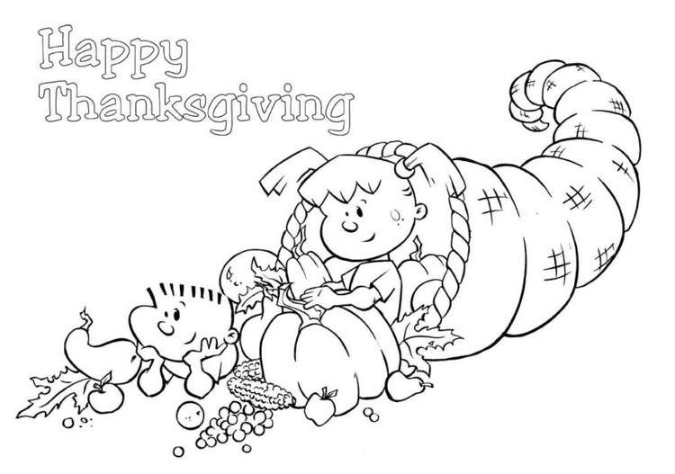 Cornucopia Coloring Pages Printable Thanksgiving
