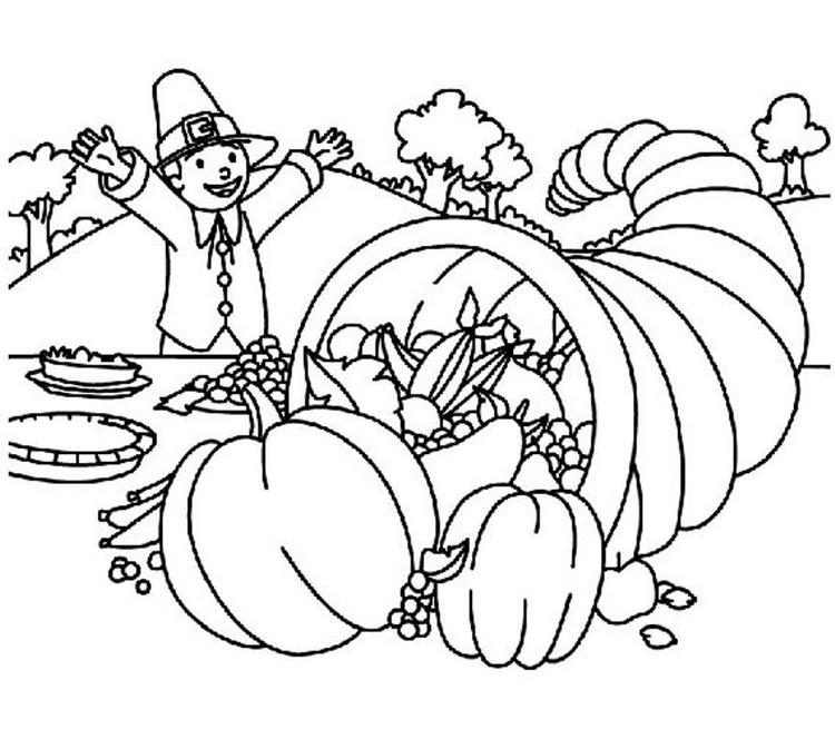 Cornucopia Free Coloring Pages Printable Thanksgiving