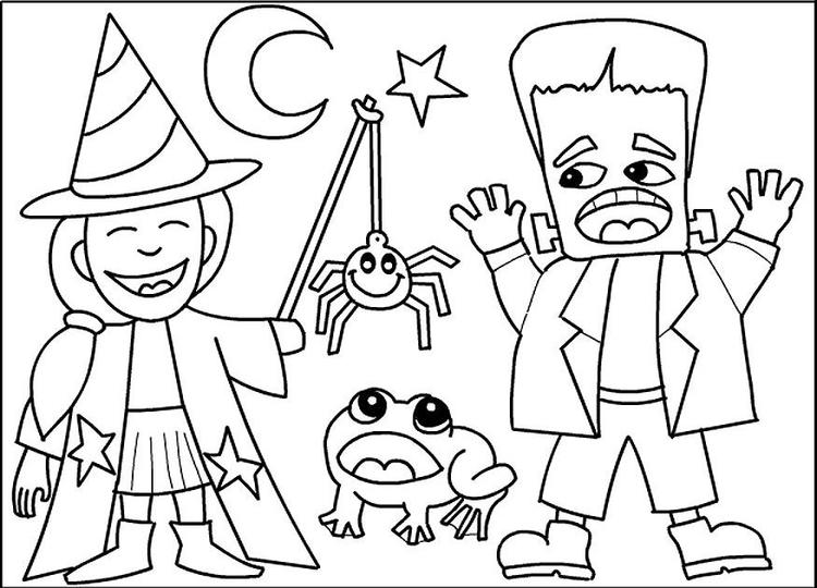 Costumes For Halloween Coloring Pages Printable Free