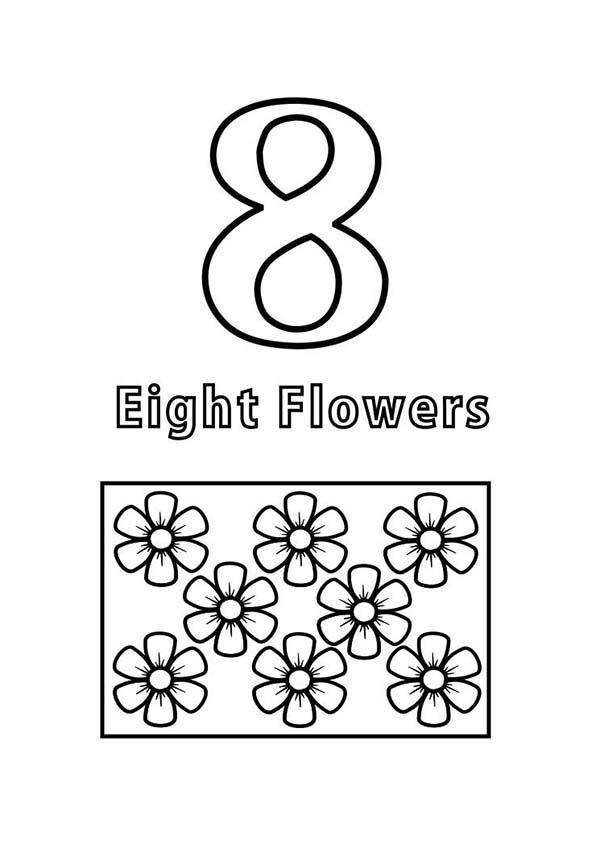 Count Flowers To Number 8 Coloring Page