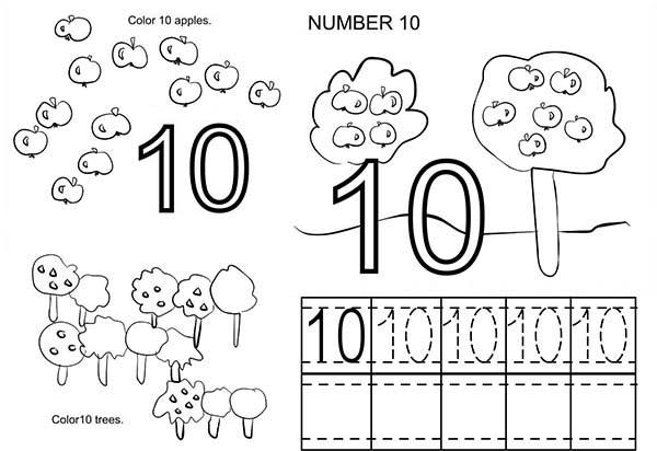 Count To Number 10 Coloring Page