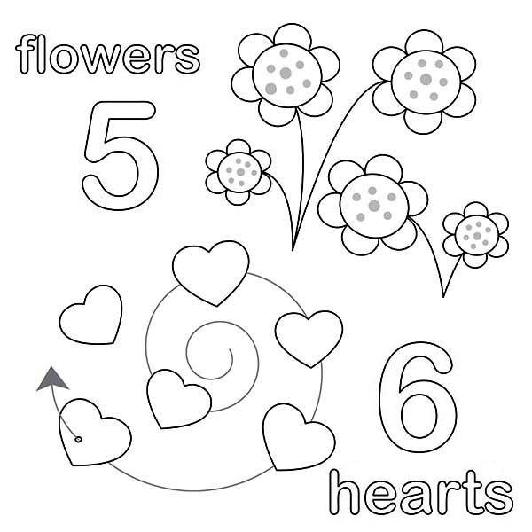 Counting Number 5 Coloring Page