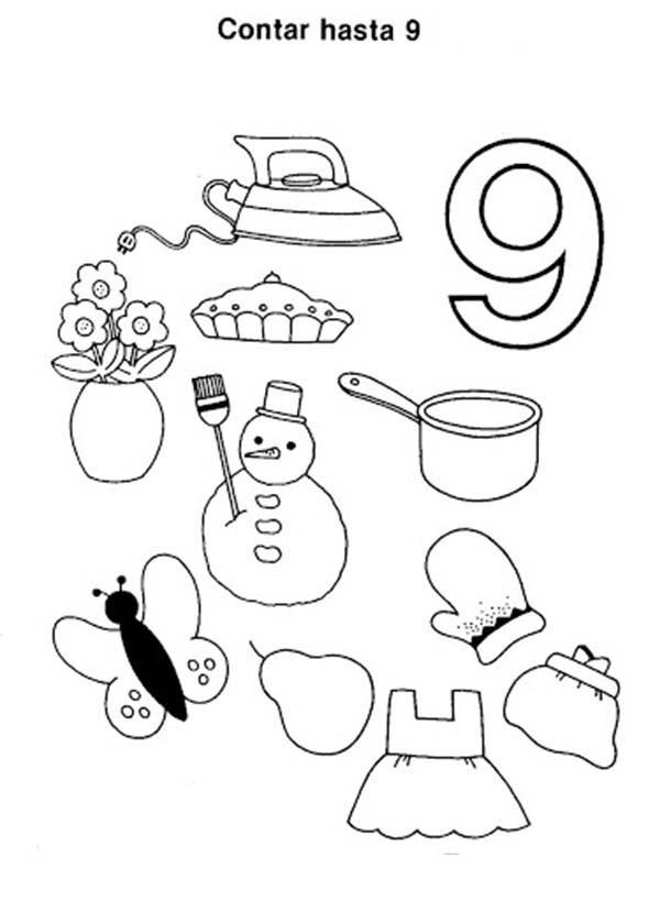 Counting Number 9 Coloring Page