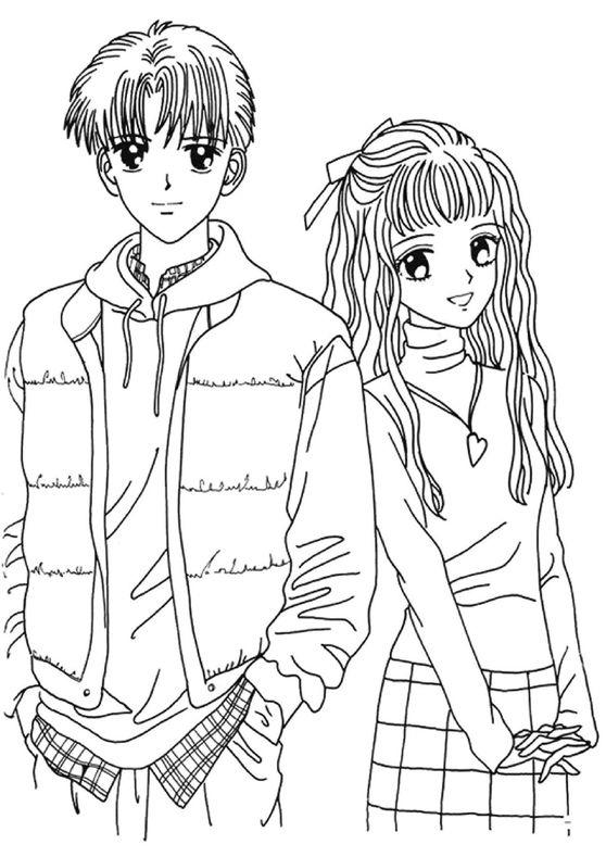 Couple Anime Coloring Pages