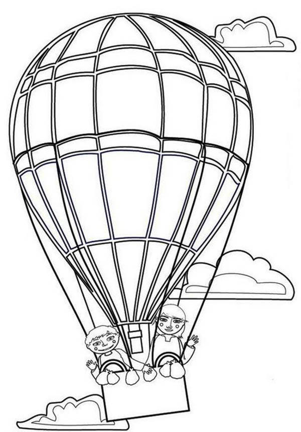 Couple Lover On Hot Air Balloon Coloring Pages