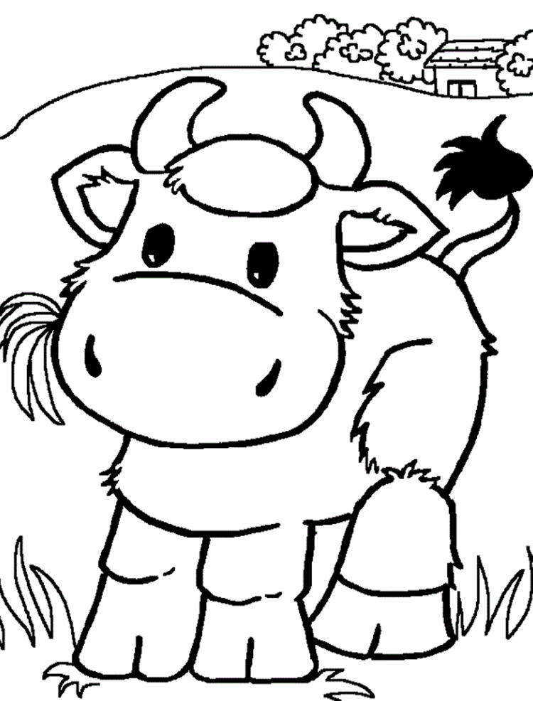 Cow Coloring Pages Easting Grass