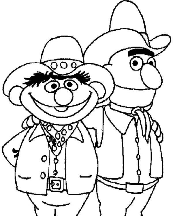 Cowboy Coloring Pages Bert And Ernie