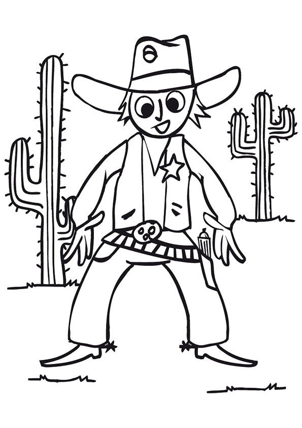 Cowboy Coloring Pages In Desert