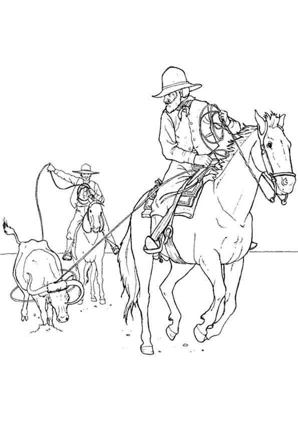 Cowboy Coloring Pages Lassoing Cattle