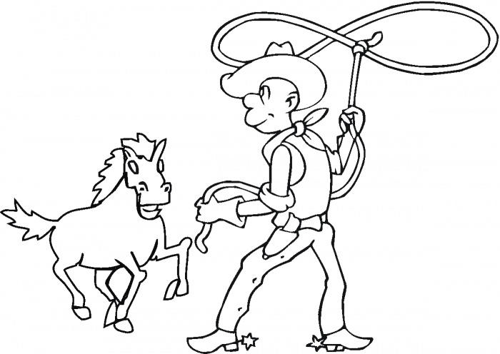 Cowboy Coloring Pages Lassoing Horse