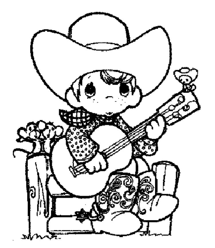 Cowboy Coloring Pages Playing Guitar