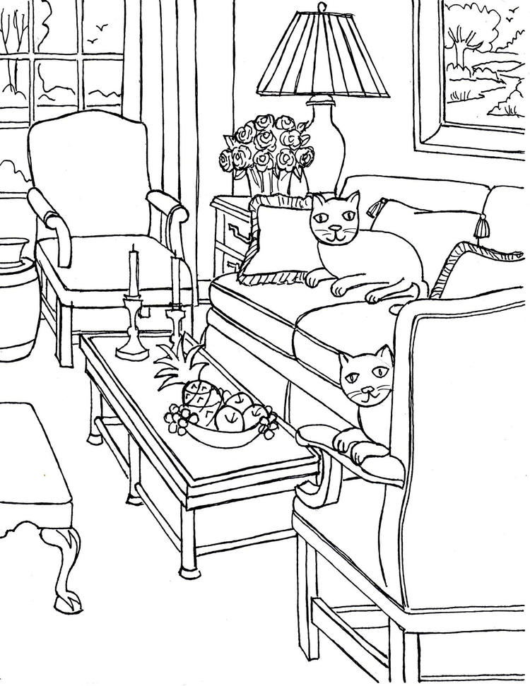 Cozy Living Room Decorations Coloring Sheet