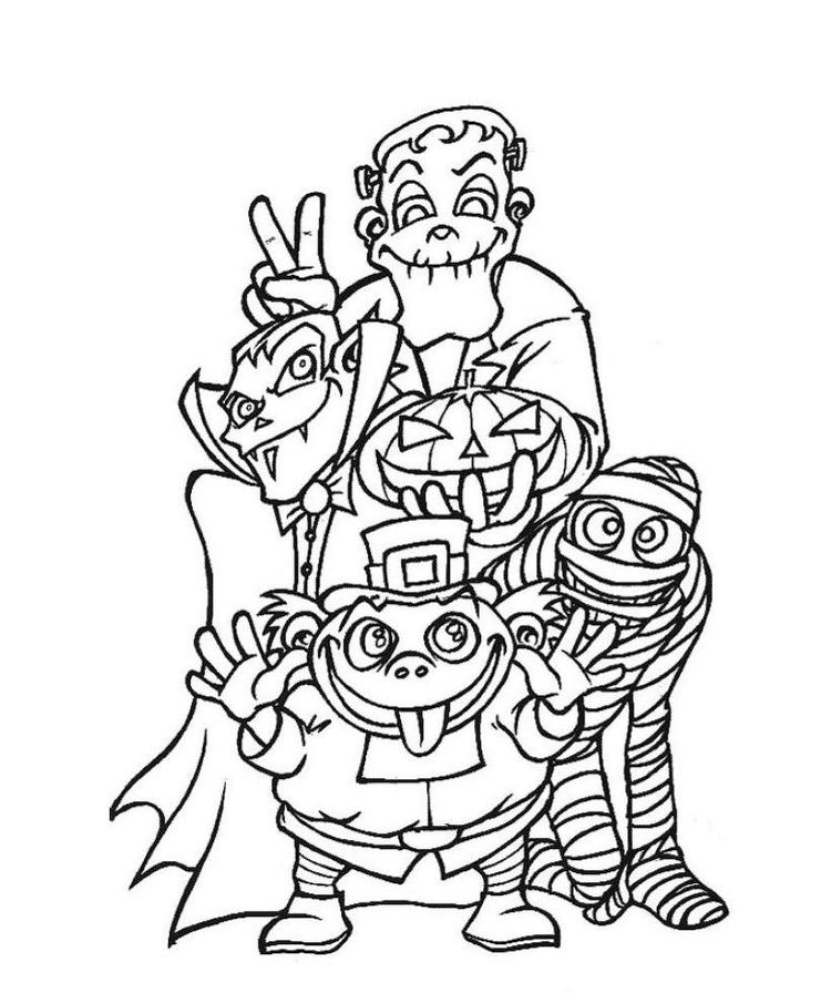 Creepy Halloween Coloring Pages Monsters