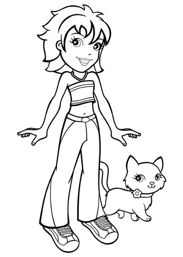 Crissy Walk Her Little Kitten In Polly Pocket Coloring Pages