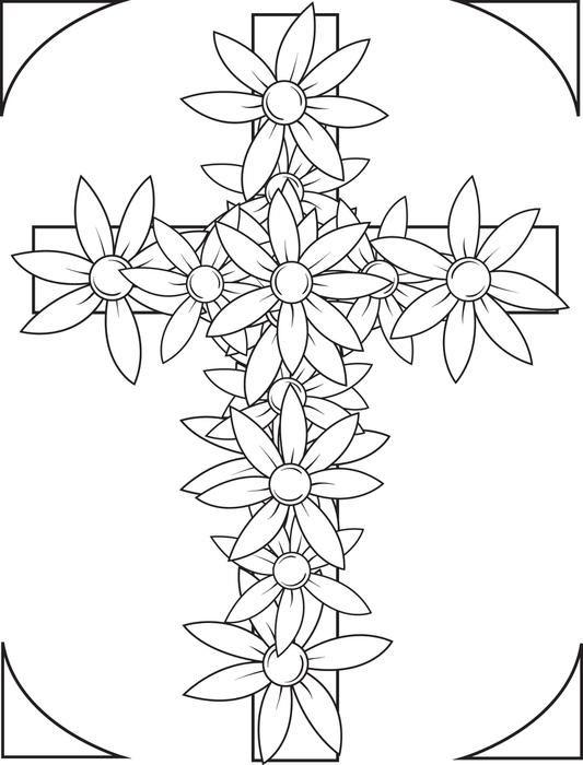 Cross Flowers Coloring Pages