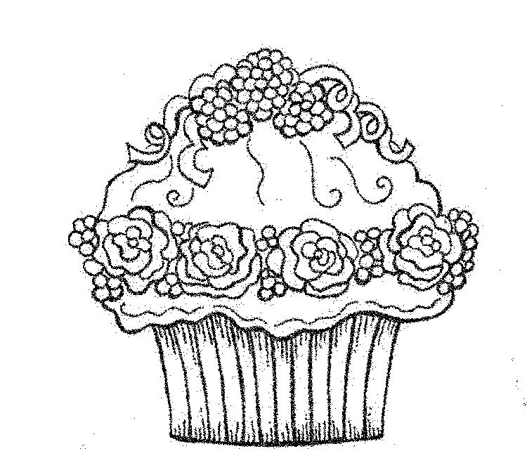 Cupcake Coloring Pages Chocolate Raspberry Rose