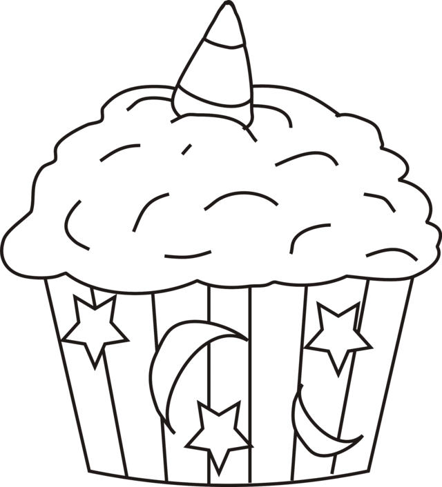 Cupcake coloring pages moon star decoration