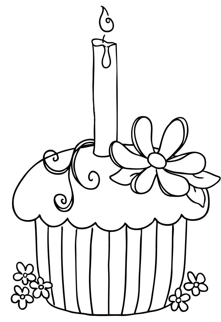 Cupcake Coloring Sheets With Candlelight