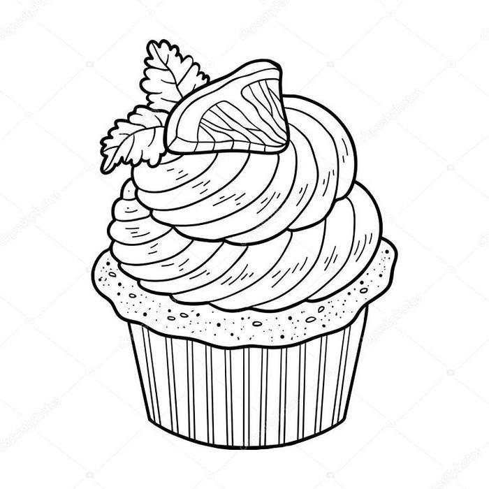 Cupcakes Details Coloring Pages