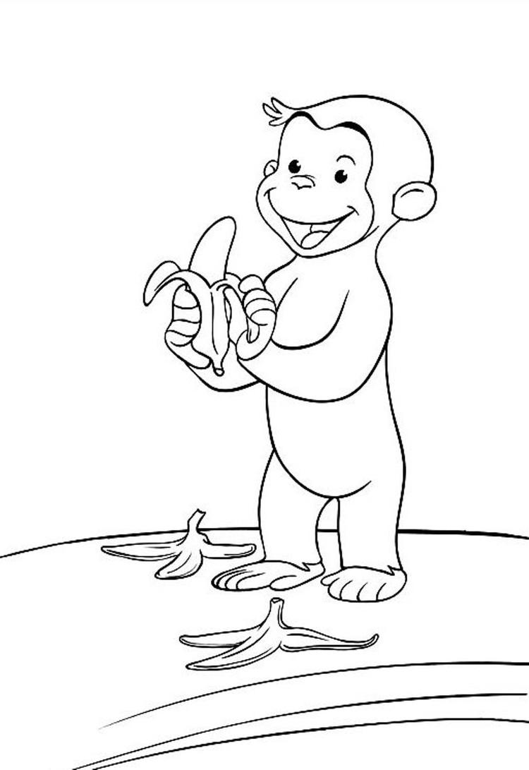 Curious George Coloring Pages Eating Three Banana