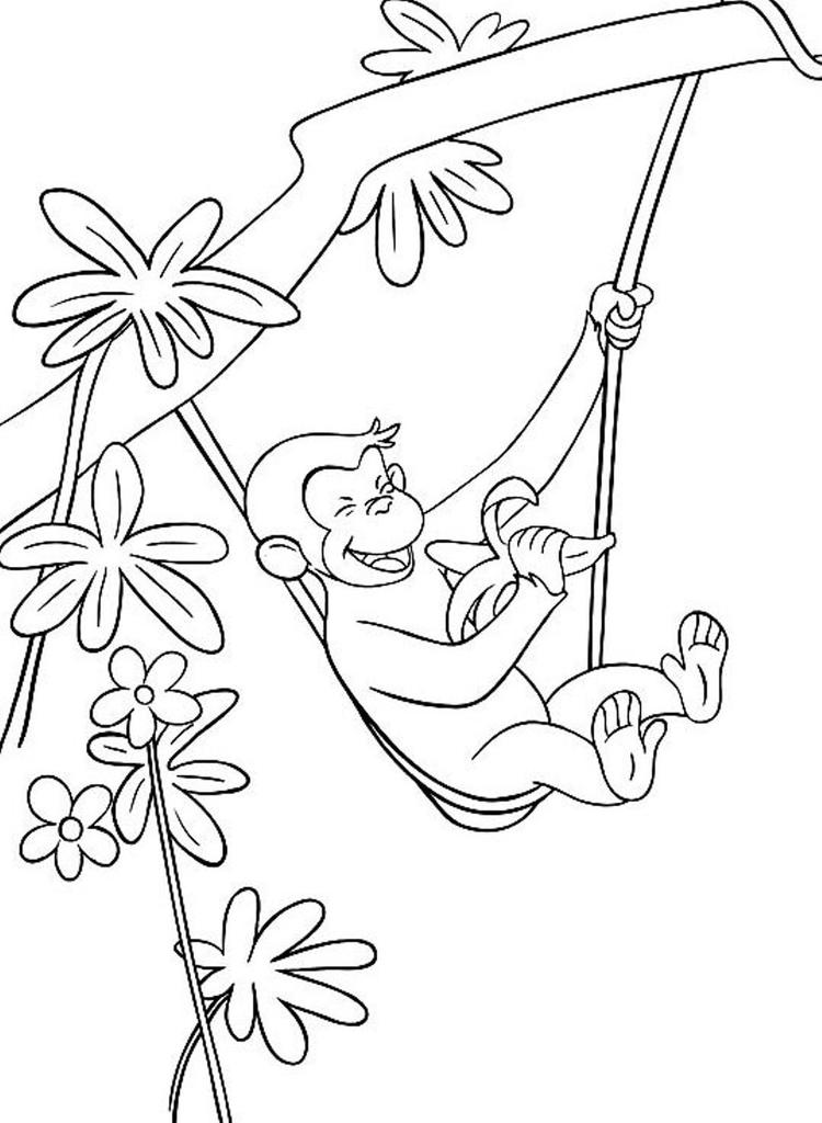 Curious George Coloring Pages Hanging And Eating Banana