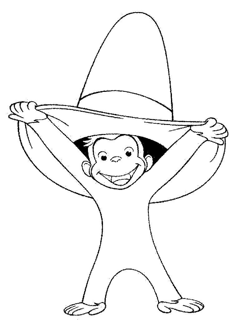 Curious George Coloring Pages Smiling