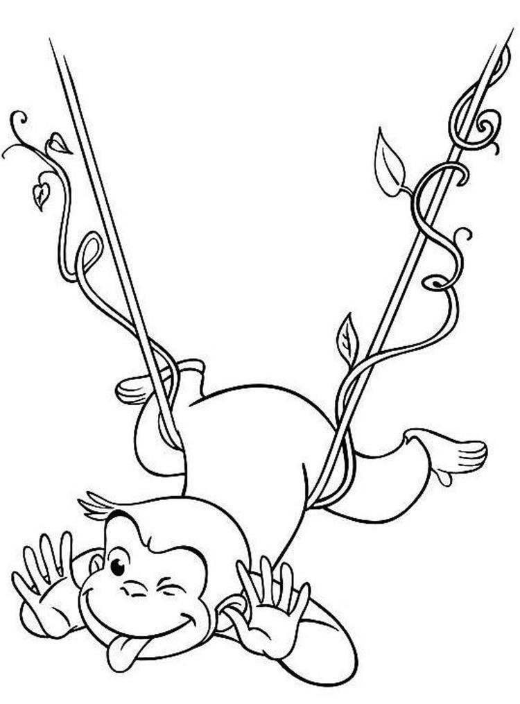Curious George Coloring Pages Swinging