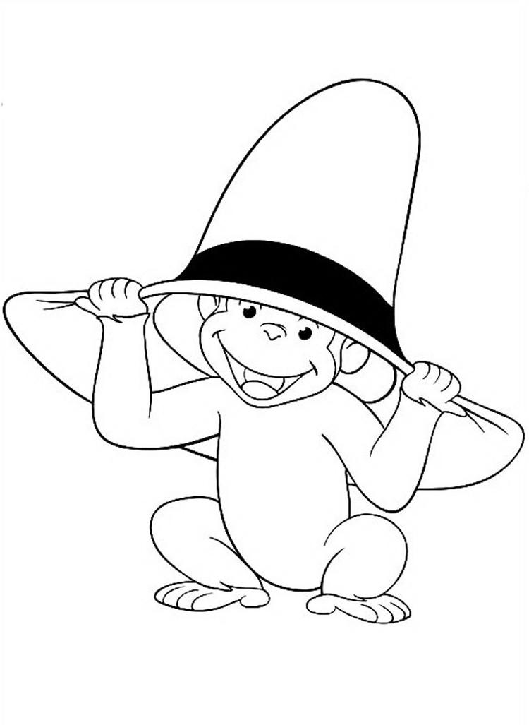 Curious George Coloring Pages Wearing Big Hat