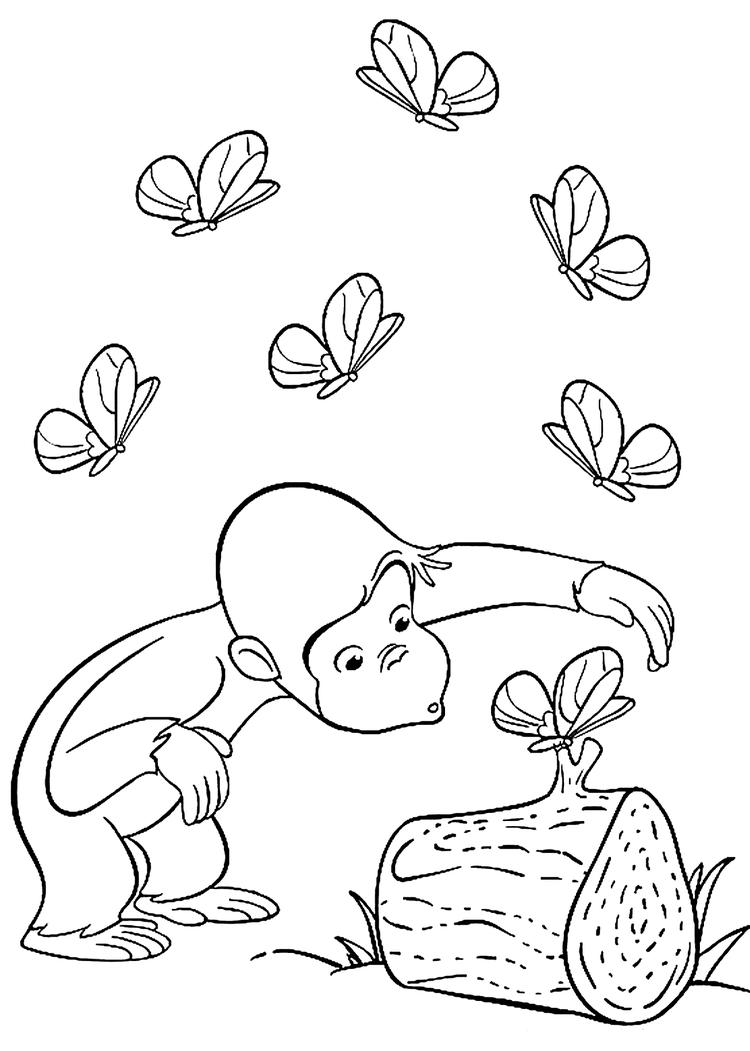 Curious George Coloring Pages With Butterflies