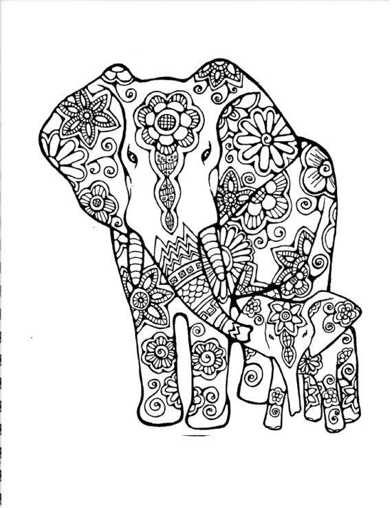 Cute Abstract Elephant Coloring Pages For Adults