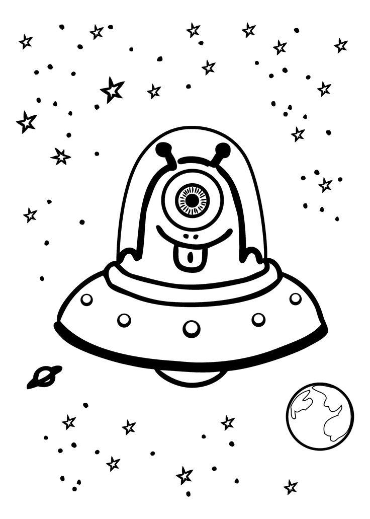 Cute Alien Coloring Pages In Space