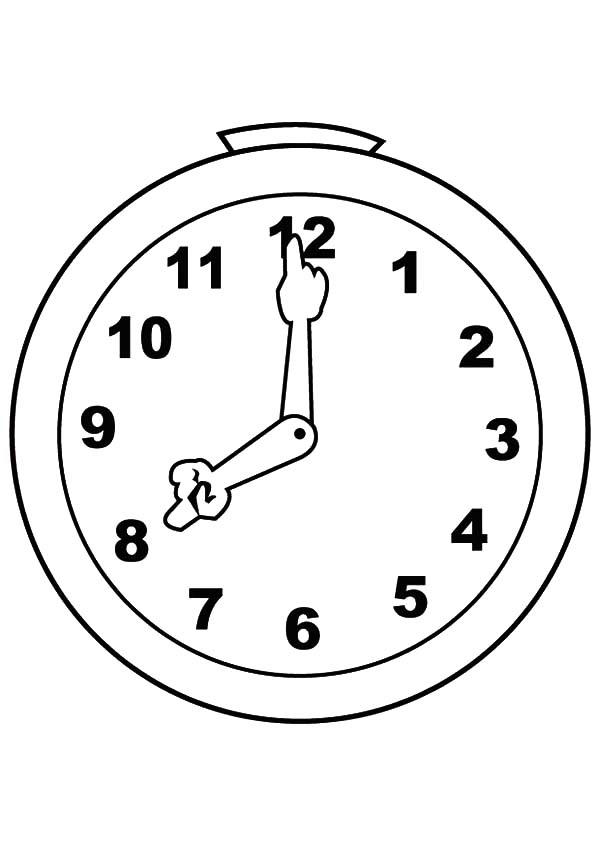 Cute And Silly Analog Clock Coloring Pages