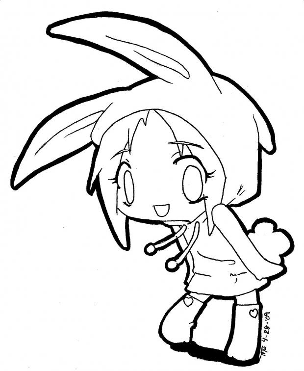 Cute Anime Coloring Pages With Bunny Costume