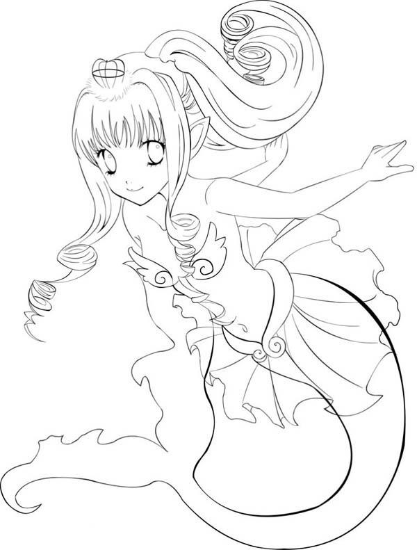 Cute Anime Mermaid Coloring Pages 1