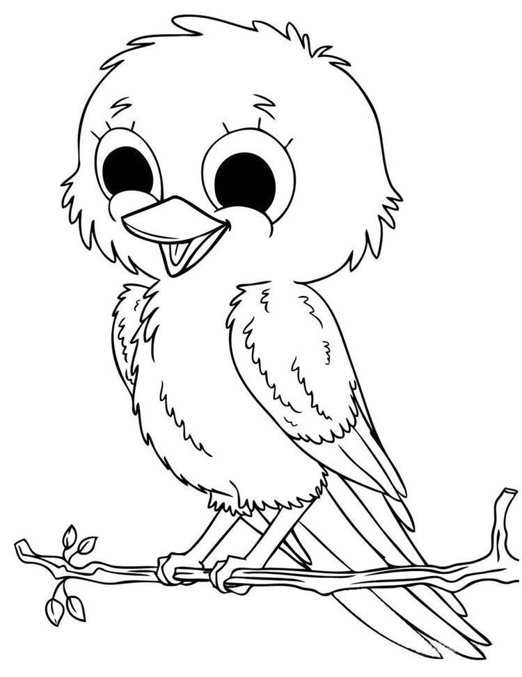 Cute Baby Animal Birds Coloring Pages