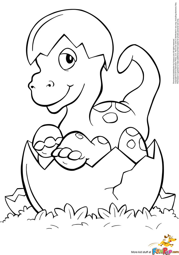 Cute Baby Dinosaurs Coloring Pages For Kids