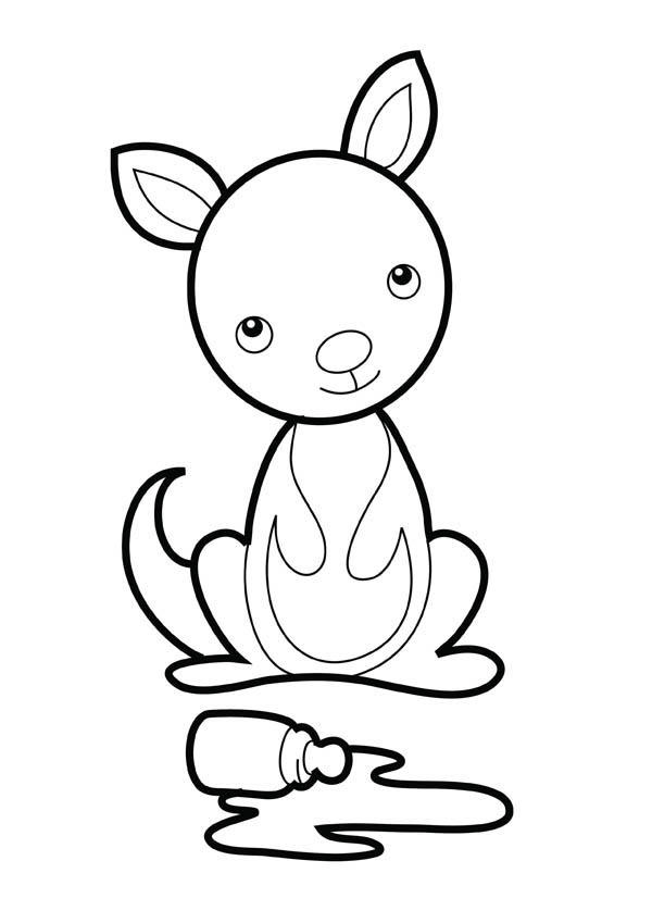 Cute Baby Kangaroo Coloring Pages