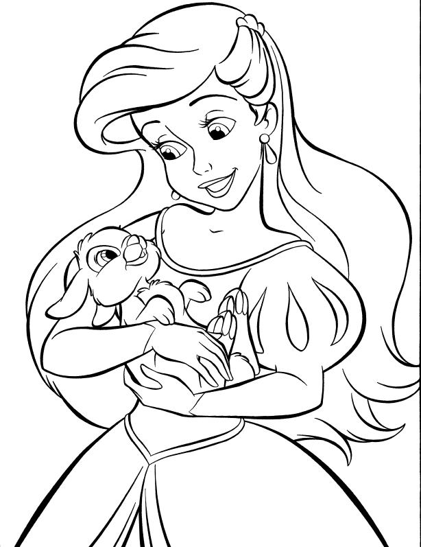 Cute Baby Princess Ariel Coloring Pages