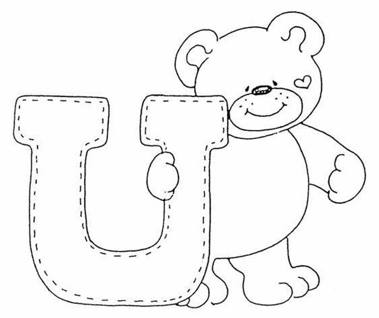 Cute Bear Alphabet Coloring Pages Free
