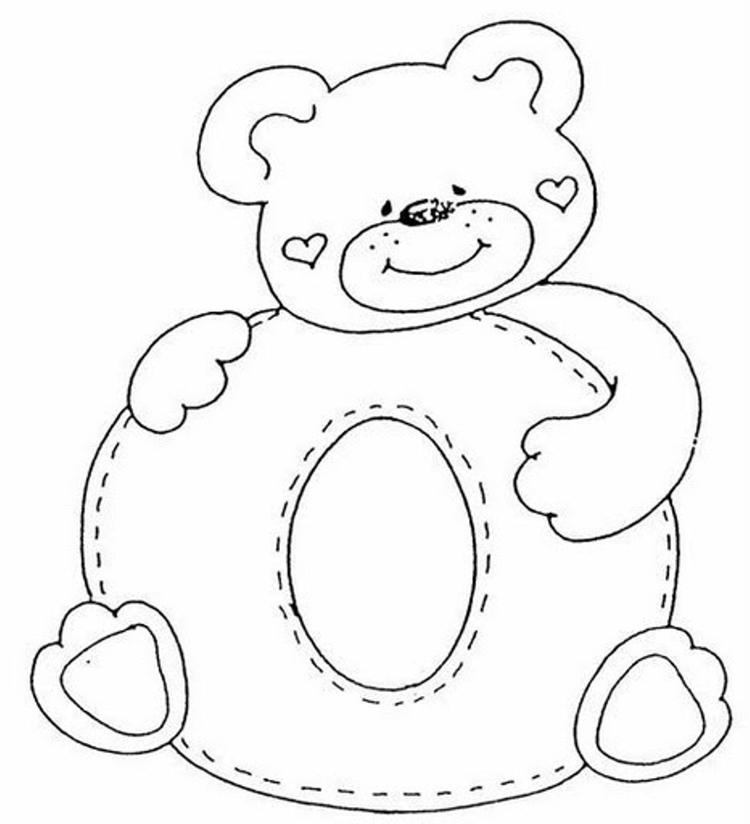 Cute Bear In O Alphabet Coloring Pages