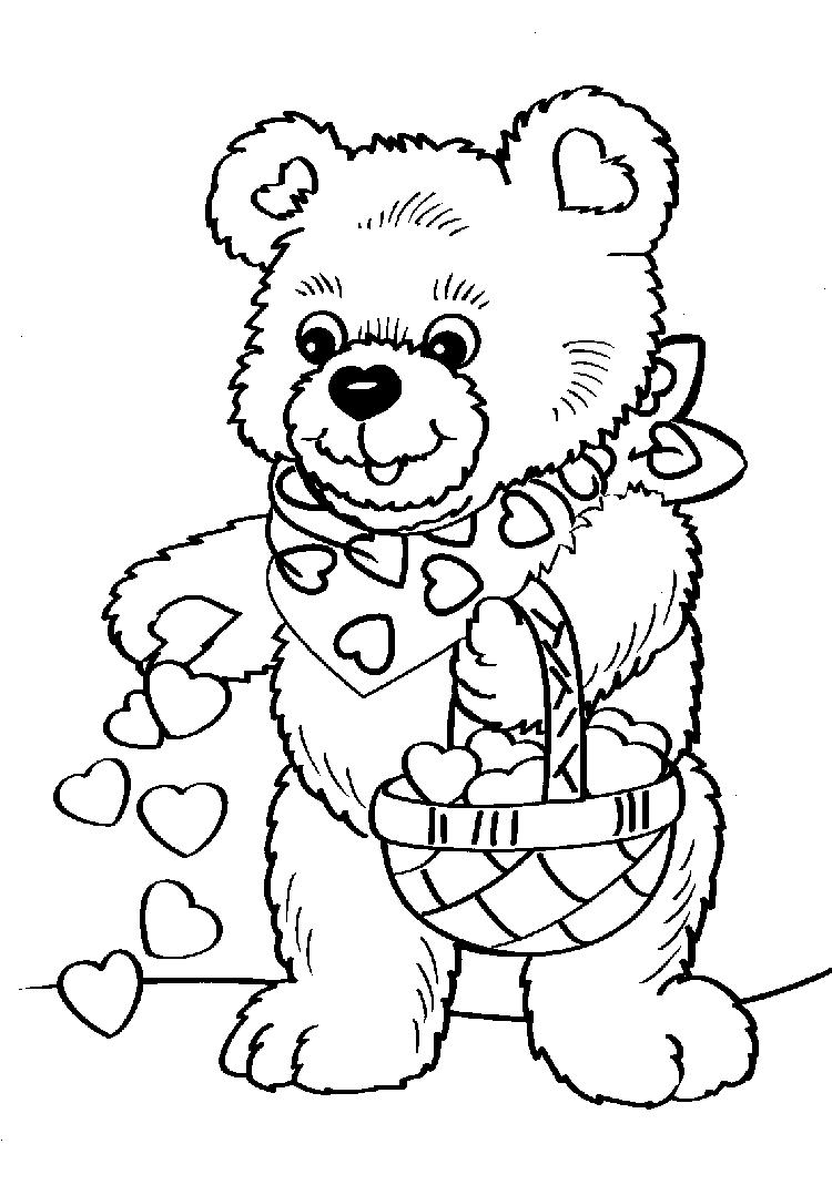 Cute Bear Valentine Coloring Pages