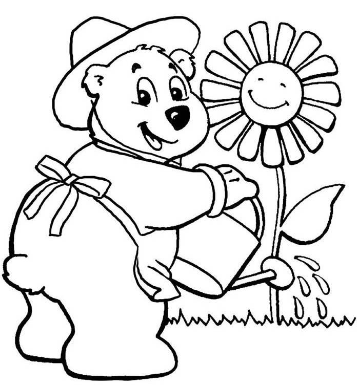 Cute Bear Watering A Flower Coloring Page