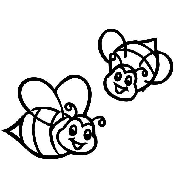 Cute Bee Coloring Pages Couple