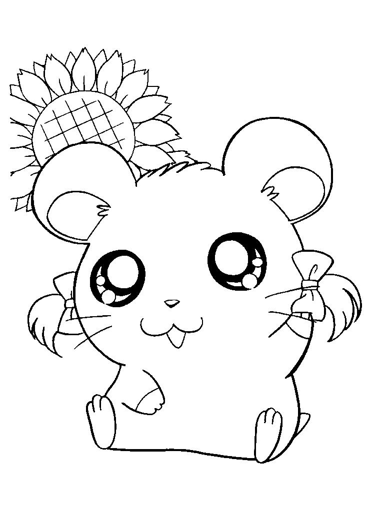Cute Bijou Hamtaro Coloring Pages