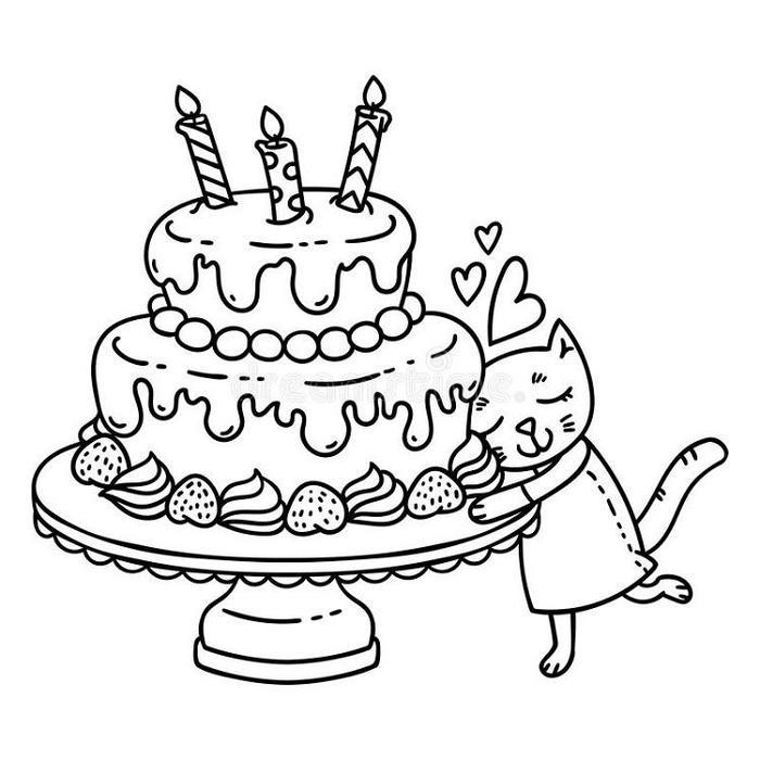 Cute Birthday Cake Coloring Pages